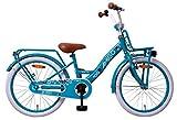 AMIGO Bloom - Kinderfahrrad für Mädchen - 20 Zoll - mit Handbremse, Rücktritt, Gepäckträger Vorne, Lenkerpolster, fahrradständer und Beleuchtung - ab 5-9 Jahre - Türkis