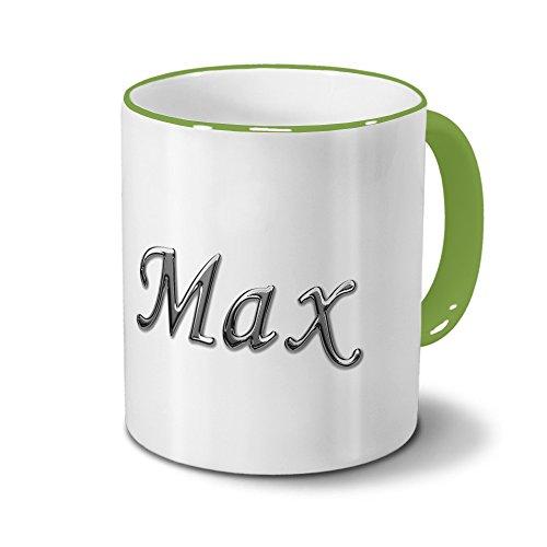 Tasse mit Namen Max - Motiv Chrom-Schriftzug - Namenstasse, Kaffeebecher, Mug, Becher, Kaffeetasse - Farbe Grün
