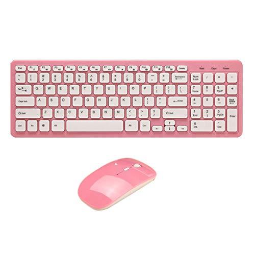 perfk Funkmaus und Tastatur Set Plug-and-Play-Unterstützung 2,4Ghz Wireless Keyboard und 1600 DPI USB-Maus - Rosa