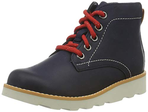Clarks Jungen Crown Hike K Klassische Stiefel, Blau (Navy Leather Navy Leather), 32 EU