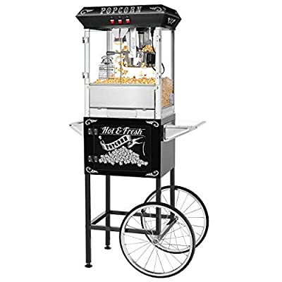 Hot and Fresh Popcorn Popper Machine With Cart-Makes Approx. 3 Gallons Per Batch- by Superior Popcorn Company- (8 oz., Black)