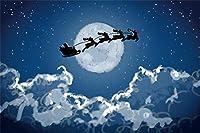 Amxxy 10x8ftビニールフライングクリスマスサンタスレイ背景写真の背景雪クリスマスイブ夜月曇り空ホリデーパーティーの装飾テレビ番組大人の子供の肖像画写真スタジオの小道具