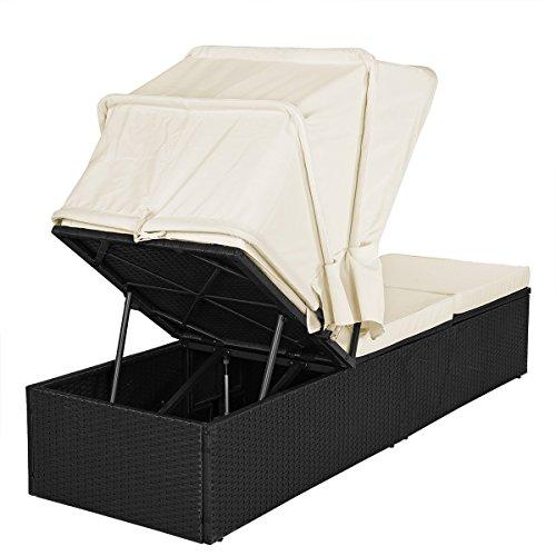 Casaria Poly Rattan Sonnenliege Gartenliege Schwarz Faltbares Sonnendach 7cm Dicke Auflagen Klapptisch verstellbar - 5