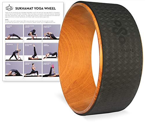"""SukhaMat Yoga Wheel - Pro - 12.5"""" x 5"""" Yoga Prop Wheel for Deeper Poses, Relieve Back Pain, Stretching, New! Online Video Yoga Wheel Instructions & Printed Guide (Woodgrain/Black)"""