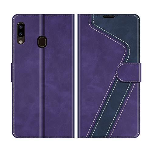 MOBESV Handyhülle für Samsung Galaxy A20e Hülle Leder, Samsung Galaxy A20e Klapphülle Handytasche Hülle für Samsung Galaxy A20e Handy Hüllen, Violett/Dunkelblau