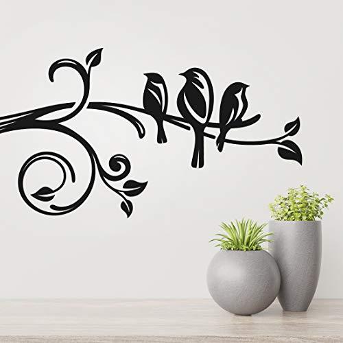 Pegatinas de pared de ramas de árbol de pájaros, pegatinas de pared para dormitorio, papel pintado, decoración de flores,...
