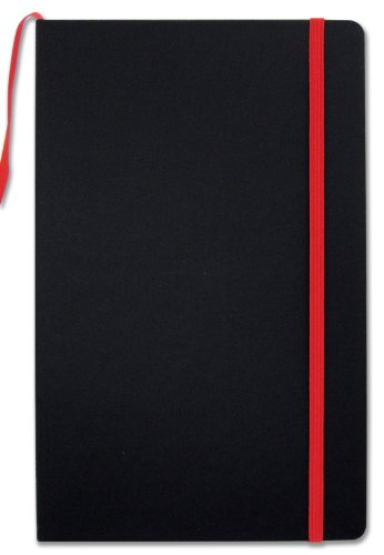 """BookFactory Black Journal/Writing Notebook/Blank Diary/Lined Pages Book - 192 Pages, 5.25"""" x 8.27, Banded Journal, Hardbound, Bookmark (JOU-192-CCS-K)"""