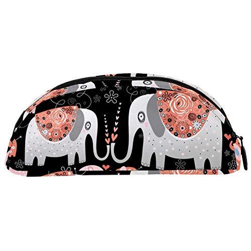 BENNIGIRY Blumen-Elefanten-Federmäppchen, große Kapazität, Stifttasche, Schreibtisch-Organizer, halbrund, für Schule und Bürobedarf