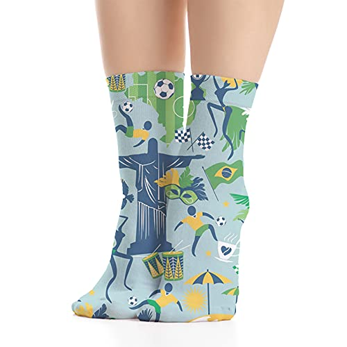 Unisex Funny Colorful Dress Socks Patterned Crazy Design Socks,Traditional Items in Colors of Brazil Symbolic