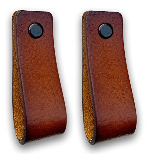 Ledergriffe Möbel   Cognac - 2 Stück   Ledergriff für Schränke, die Küche und Tür   Lieferung mit Schrauben in 3 Farben