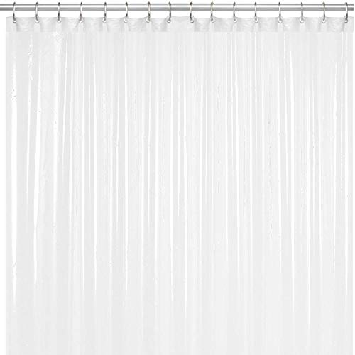 LiBa PEVA 8G Bathroom Shower Curtain Liner, 72' W x 72' H, Frosted, 8G Heavy Duty Waterproof Shower Curtain Liner Anti-Microbial Mildew Resistant