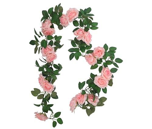 Hitopin 1 Pezzo 240CM Ghirlanda di Rose Artificiali,Ghirlanda di Rosa Rosa, Fiori Artificiali Appesi, per la Parete di Casa Decorazione Dell'arco di Nozze del Giardino (16 Fiori, Rosa)