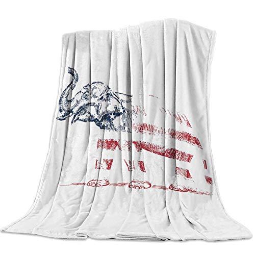 DSFAA Leichte Flanelldecke Gemütliche Couch Superweiche und warme Fleece-Mikrofaser Fuzzy-Bettdecke Elefant mit amerikanischer Flagge