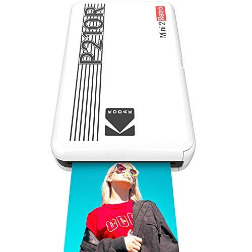 Kodak Mini 2 Retro mobiler Fotodrucker für Smartphone (iPhone & Android) - Weiß - 8 Blatt (54 x 86 mm, 4Pass-Technologie-Laminierung)