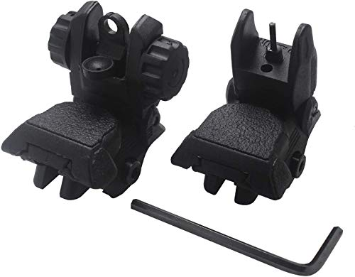 AWOTAC Polymer Iron Sights Black Flip-up Front and Rear Sight Fit Picatinny Weaver Rails