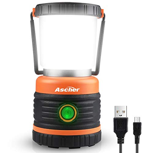 Ascher LED Camping Lantern Rechargeable, 800LM, 3 Light Modes, 4400mAh Power Bank, IP44 Waterproof, Bright LED Lanterns Flashlight for Power Outages, Emergency, Camping, Hurricane, USB Cable Included