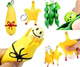Cocobuy 3 Pack Novelty Squeeze Banana Squeeze-a-Beans Squeeze Banana Squeeze Chicken Stress Relief Party Gifts Key Chain (Color A) (A Red)