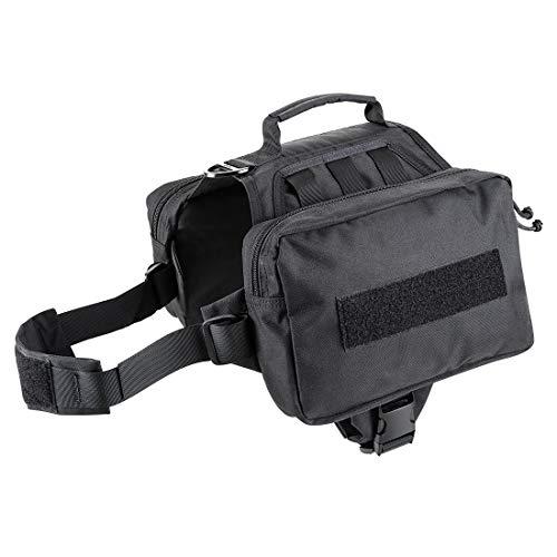 JIEPAI Military Dog Pack Hound Travel Camping Hiking Backpack Saddle Bag Rucksack for Medium & Large Dog Vest with 2 Pockets (Advanced Version Black, M/L)