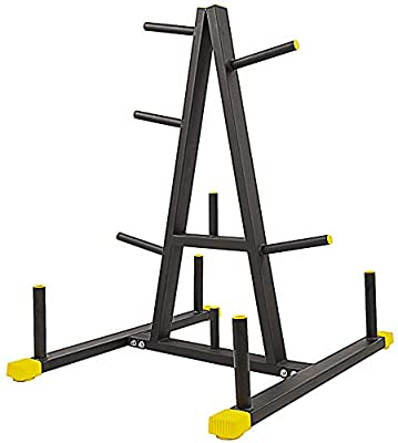 BalanceFrom 2-Inch or 1-Inch Weight Plate Rack with Barbell Holders, 600-Pound Capacity (for 1-Inch Gear), Black