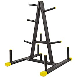 BalanceFrom 2-Inch or 1-Inch Weight Plate Rack with Barbell Holders, 600-Pound Capacity