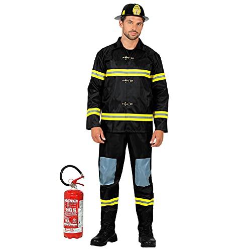WIDMANN Widmann-21363 Disfraz de bombero, parte superior, pantalones y casco, uniforme, servicios de rescate, trabajo, fiesta temtica, carnaval, etc, multicolor, large (21363)