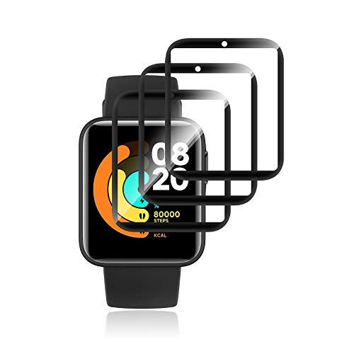 Aerku Protector de pantalla Compatible con Xiaomi Mi Watch Lite, 3D Curvo Cobertura Completa Protector de Pantalla [Antiarañazos][Alta definición] [Sin Burbujas]Protector de Pantalla[3 Unidades]