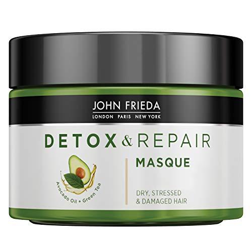 John Frieda Detox & Repair Maske für trockenes, strapaziertes & geschädigtes Haar mit Avocado-Öl und grünem Tee, 250 ml