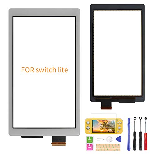 A-MIND Touchscreen Digitizer nur für Nintendo Switch Lite, Front Touch Panel Ersatzteile Reparaturset + Werkzeug Reparatur Kit + Displayschutzfolie (limitiertes Grau)