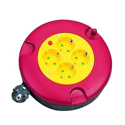 LogiLink LPS500 Kabeltrommel mit 4 Steckdosen für den Innenbereich, IP20, 5m, 230 V, Schwarz, Rot, Gelb, (Innen)