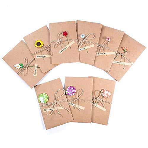 Carta Kraft Vintage Marrone Baby Shower Laurea 10x15cm 24 Biglietti di Ringraziamento 6 Stili di Design con Buste e Adesivi per Matrimonio con Note di Auguri Vuoto all Interno