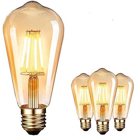 Bombilla LED E27, Edison Vintage Bombilla Cálido 4W ST64 2600-2700K 400LM Bombilla Retro Decorativa Ambar Cálido Blanco Bombillas Incandescentes - 3 Unidades [Clase de eficiencia energética A ]