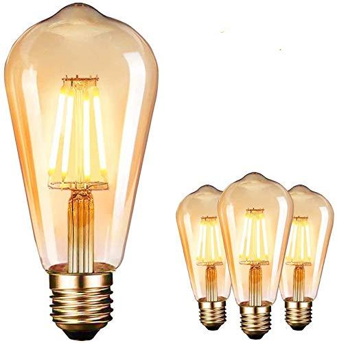 Ampoule LED Edison, Lampe Edison Vintage 4W 400LM 2600-2700K Angle de faisceau à 360° E27 ST64 Lampe Décorative Ampoules à incandescence Rétro Ampoule Edison 3 Pack [Classe énergétique A++]