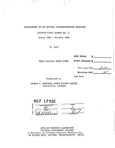 Development of an optical superheterodyne receiver Interim final report no. 2, Mar. 1965 - Oct. 1966 (English Edition)