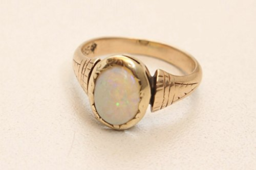 vintage13. de precioso prachtvoller Anillo Anillo para mujer anillo de oro 585con ópalo feurige Colores