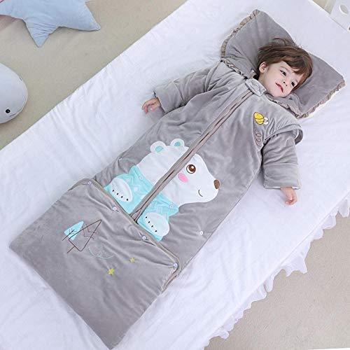 TAYIBO Saco de Dormir de Bebe de Algodon,Saco de Dormir de Invierno cálido para niños, Oso de Bosque Largo de Ante, antipatadas Gris_0-6 años