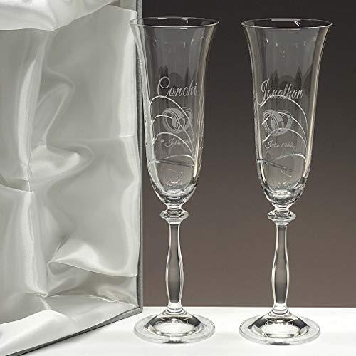 la galaica | Juego de 2 Copas para Champagne o Champán de Cristal | Regalo Ideal para Bodas de Oro, Plata, 25 o 50 Aniversario | Talladas a Mano | Colección Angela | Grabación Personalizada