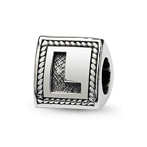 Hermosa plata esterlina reflexiones letra L triángulo bloque grano