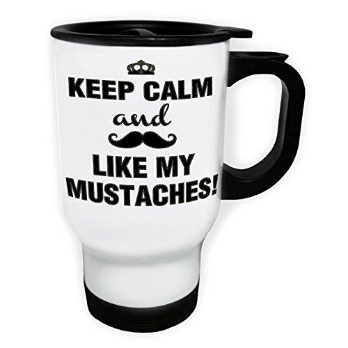 INNOGLEN Gardez Le Calme et Appelez et Aimez Mes Moustaches Tasse de Voyage Thermique Blanche 14oz 400ml d177tw