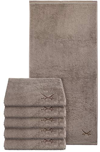 Sansibar Handtuch 6er Set 50x100 cm 100% Baumwolle mit gesticktem Säbel Logo Badtuch Taupe
