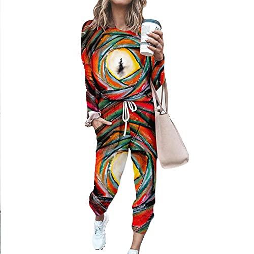 YDYBY Chándal De Deporte para Mujer Casual Hipster Conjuntos Deportivos Manga Larga Sudadera Pantalones 2Pcs para Correr Plus Size XXS-4XL,C,XXS