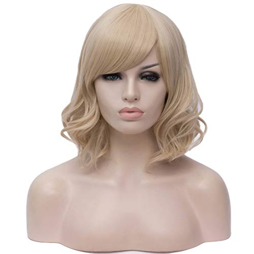BUFASHION Short Wavy Bob Wigs Gloden Curly Hair Wigs With Bangs Heat Resistant Cosplay Party Custom Wigs With Wig Cap (Gloden)