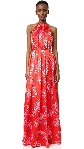 Cynthia Rowley Women's Pleated Maxi Dress with Halter Neck, Poppy Red, 0