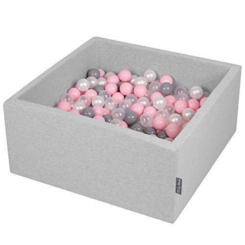 KiddyMoon 90X40cm/200 Balles ∅ 7Cm Carré Piscine À Balles pour Bébé Fabriqué en UE, Gris Clair: Perle/Gris/Transparent/Rose Poudré