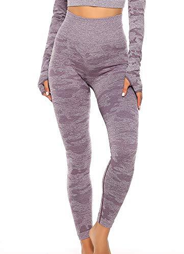 INSTINNCT Damen Yoga Lange Leggings Slim Fit Fitnesshose Sporthosen #1 Tarnmuster - Lila M