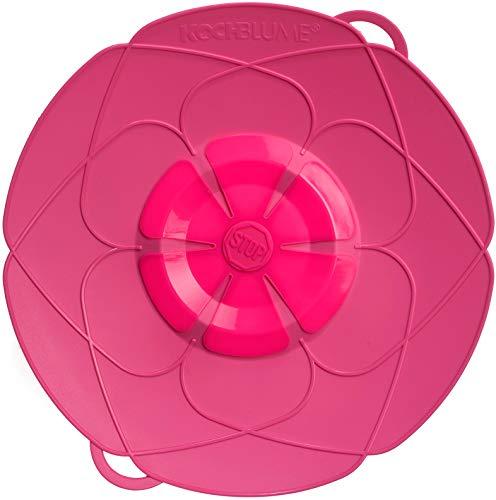 Kochblume vom Erfinder Armin Harecker L 29 pink   Überkochschutz für Topfgrößen von Ø 14 bis 24 cm   Set mit Microfasertuch!