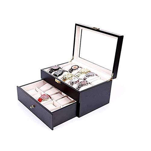 pojhf GYDSSH Joyería de Madera Caja de la Caja de Reloj Caja de Reloj Organizador for la exposición y almacenaje con la Tapa de Cristal de 20 Ranuras Negro