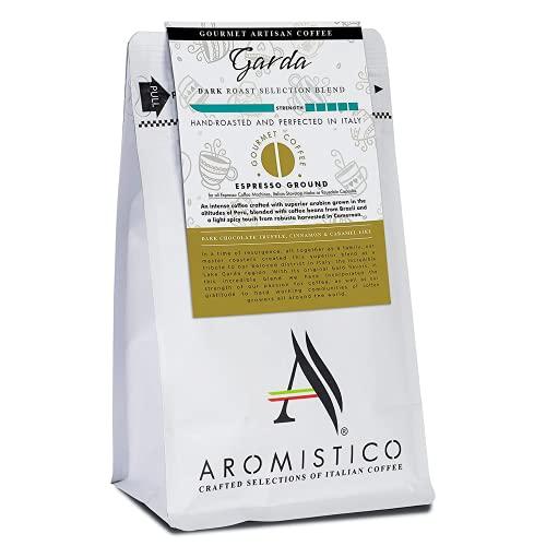 AROMISTICO   Intense Bold Dark Roast   Premium Italian Coffee   Garda Selection Blend   Dark Chocolate Truffle, Cinnamon and Caramel-Like   Suitable for All Coffee Makers