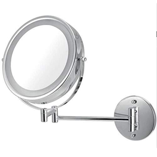 Espejo Maquillaje Aumento Espejo del maquillaje de 8,5 pulgadas LED Cuarto de baño Espejo de baño con luz mural plegable de belleza Montada telescópico espejo de aumento Espejo de Maquillaje Espejo Au