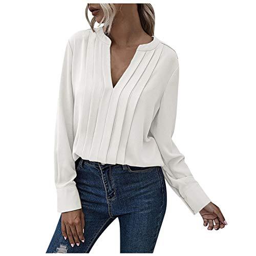 URIBAKY Camisa de mujer de manga larga de muselina de seda templada con cuello en V de color liso, blusa Tops para mujer beige XL