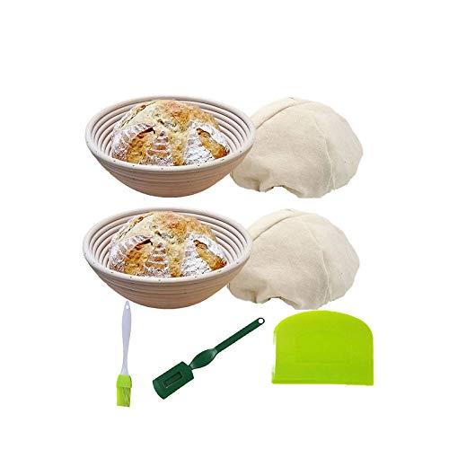 KEBEIXUAN Banneton Pan Cesta de fermentación 2 Paquetes Raspador de Pan de Silicona+Cepillo de Silicona+Herramienta de Cuchilla de Pan Francés (10IN)